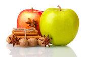 Cinnamon sticks, apples, nutmeg and anise isolated on white — Stock Photo