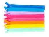 Cremallera multicolor aislada en blanco — Foto de Stock