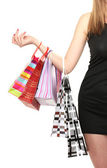 Beautifu woman with shopping bags isolated on white — Stock Photo
