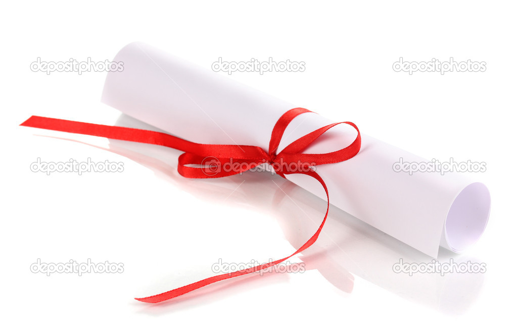 Graduation diploma tied with ribbon isolated on white — Stock Photo #10014970