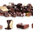 Collage of assorted delicious chocolate bars, biscuits and candy isolated on white — Stock Photo #10025913