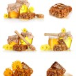 Stock Photo: A collage of some compositions jars of honey and the honeycomb isolated on white