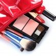 Royalty-Free Stock Photo: Make up bag with cosmetics and brushes isolated on white