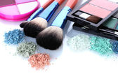 Eye shadow and make-up brushes isolated on white — Stock Photo