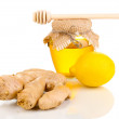 Ginger with lemon and honey isolated on white — Stock Photo #10044000