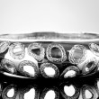 Beautiful silver bracelet on grey background — Stockfoto