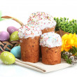 Beautiful Easter cakes, colorful eggs in basket and pussy-willow twigs isolated on white - Stockfoto
