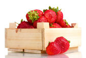 Strawberries in wooden box isolated on white — Stock Photo