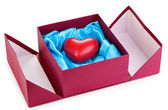 Heart in box isolated on white — Stock Photo