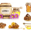 Collage of jars of honey, honeycomb and flowers isolated on white — Stock Photo #10050480