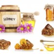 Collage of jars of honey, honeycomb and flowers isolated on white — Stock Photo