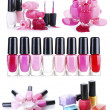 A collage of compositions of nail polish isolated on white - Stock Photo