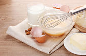 Ingredients for the dough wooden table — Stock Photo