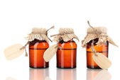 Medicine bottles with blank labels isolated on white — Stock Photo