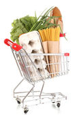 Trolley with food isolated on white — Stock Photo