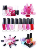 A collage of compositions of nail polish isolated on white — Stock Photo