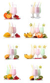 Collage of eight compositions milkshakes with fruits isolated on white — Stock Photo