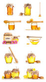 Collage of a few jars of honey and flowers isolated on white background — Stock Photo