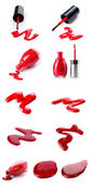 A collage of bright red nail polish isolated on white — Stock Photo