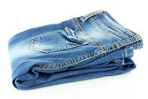 Blue jeans isolados no branco — Fotografia Stock