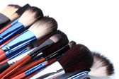 Make-up brushes isolated on white — Stockfoto