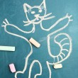 Cat, child's drawing with chalk — Stock Photo