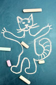 Cat, child's drawing with chalk — 图库照片