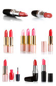 Set of bright lipstick for lips isolated on white — Stock Photo