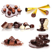 Collage of assorted delicious chocolate candies and nuts isolated on white — Stock Photo