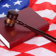 Royalty-Free Stock Photo: Judge gavel and book on american flag background