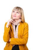 Mulher jovem e bonita na jaqueta brilhante isolada no branco — Foto Stock