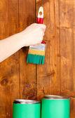 Malba dřevěný plot — Stock fotografie