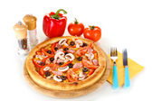 Aromatic pizza with vegetables isolated on white — Stock Photo