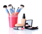 Makeup set isolated with brushes isolated on white — Stock Photo