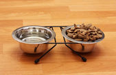 Dry dog food and water in metal bowls on the floor — Foto de Stock
