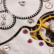 Clock mechanism close-up - Stock Photo