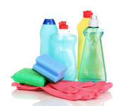 Detergents with gloves and sponges isolated on white — Stock Photo