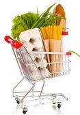 白で隔離される食品のトロリー — ストック写真