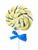 Colorful lollipop with bow isolated on white — Stock Photo