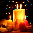 Beautiful candle and decor on wooden table on bright background — Stock Photo #10259237