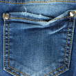 Blue jeans pocket closeup — Stock Photo