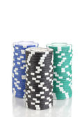 Casino chips isolated on white — Stock Photo