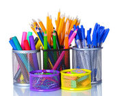 Color holders for office supplies with them isolated on white — ストック写真