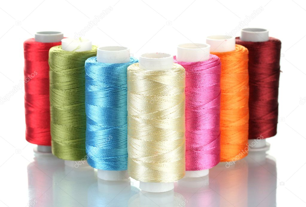 Bright bobbin thread isolated on white  Stock Photo #10263951