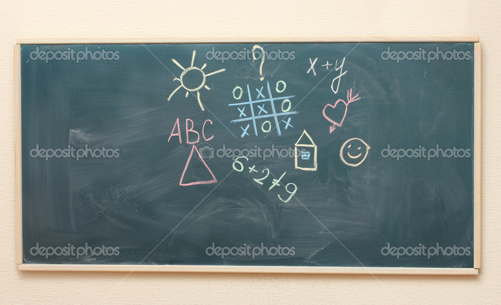 The drawings and inscriptions in colorful chalk on the blackboard — Stock Photo #10264212