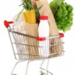 Stock Photo: Trolley with food isolated on white
