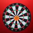 Постер, плакат: Darts with stickers depicting the life values on colorful background The darts hit the target