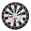 Darts with stickers depicting the life values isolated on white. The darts hit the target. — Stock Photo #10341749