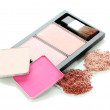 Make-up blusher in box isolated on white - Stok fotoğraf