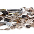 Stock Photo: Lot of metal keys isolated on white